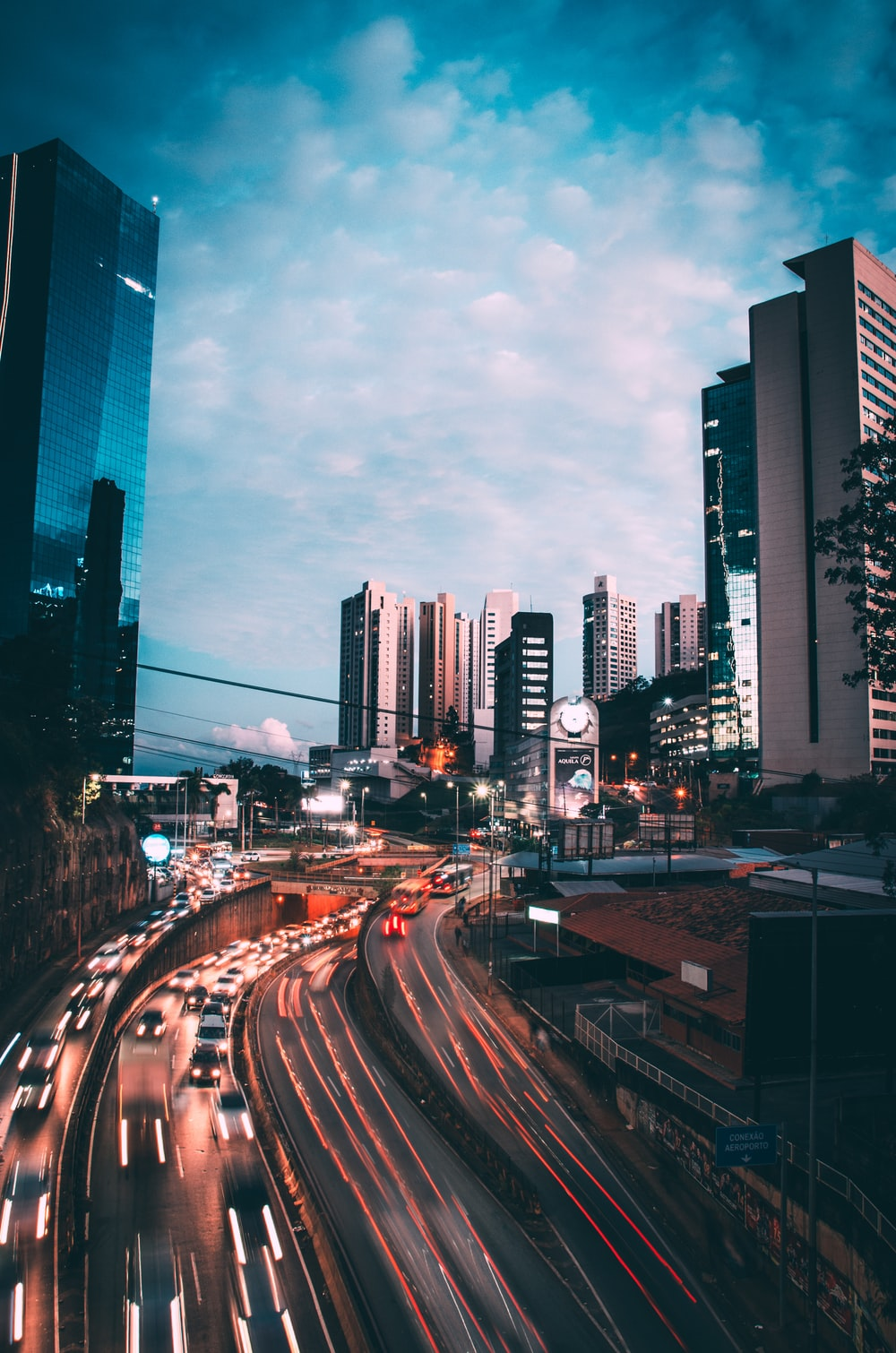 time lapse photography in city