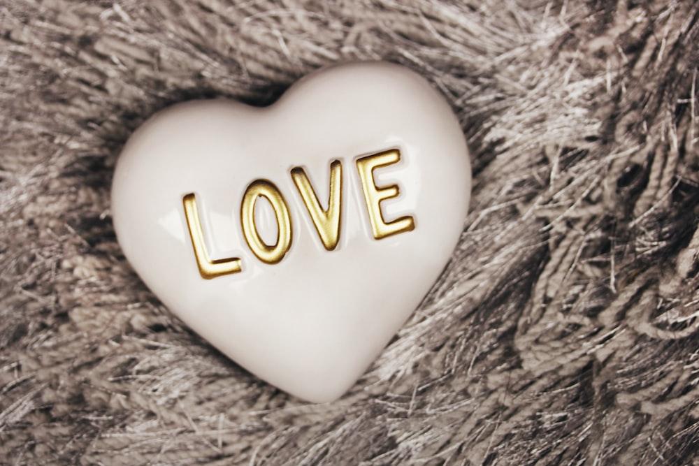 heart-shaped white Love decor