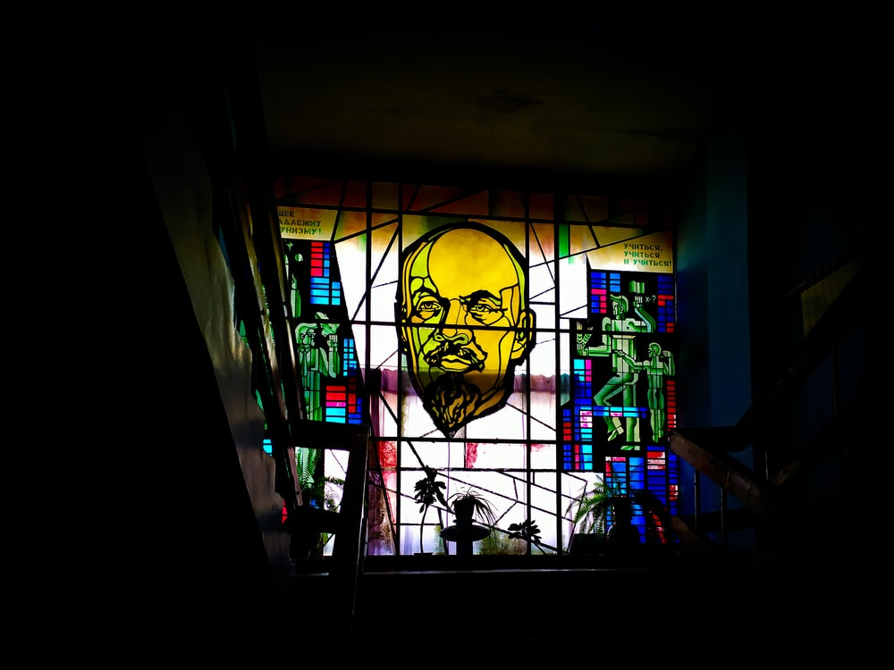 stained glass art of man on window
