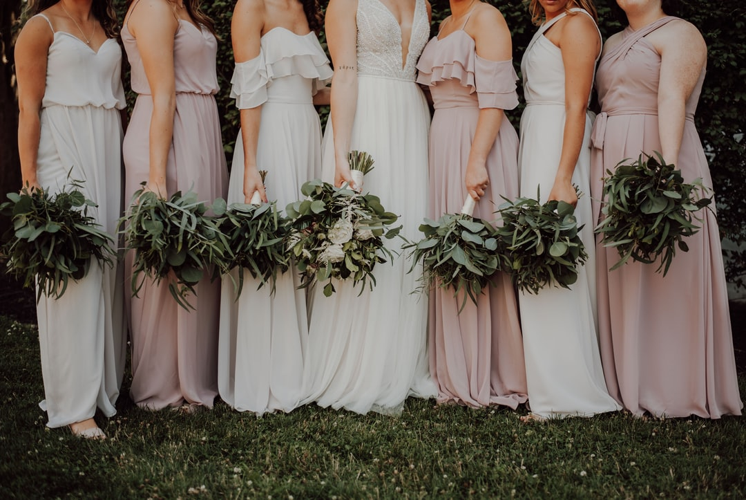 Bridesmaids and their flowers