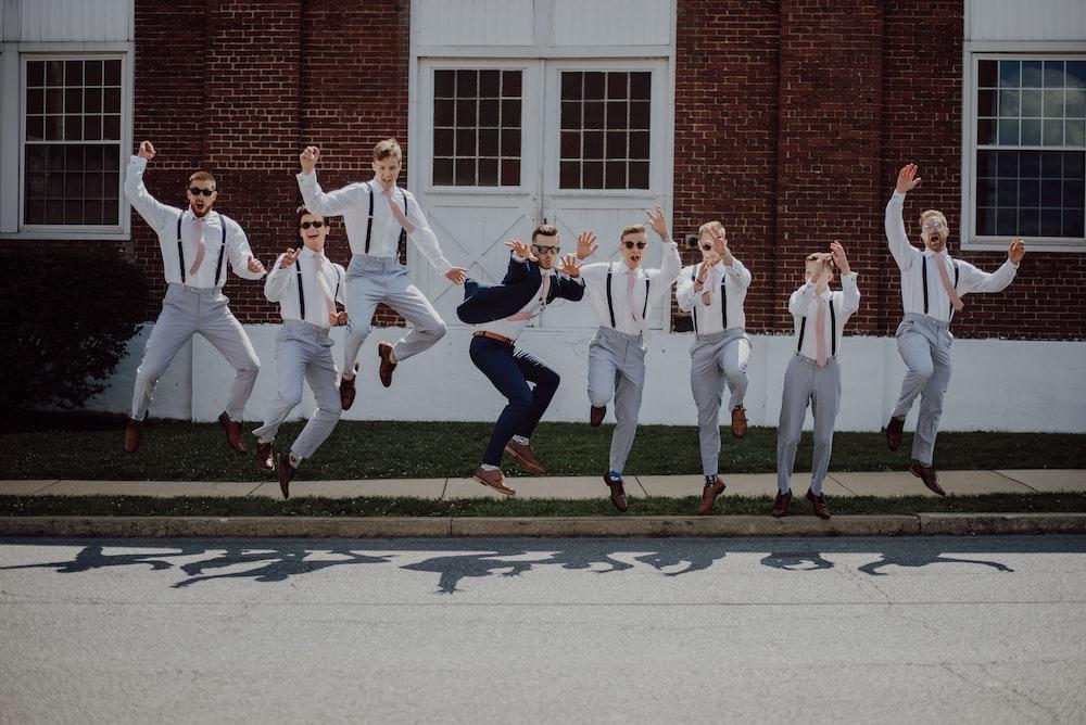 group of men in white dress shirt
