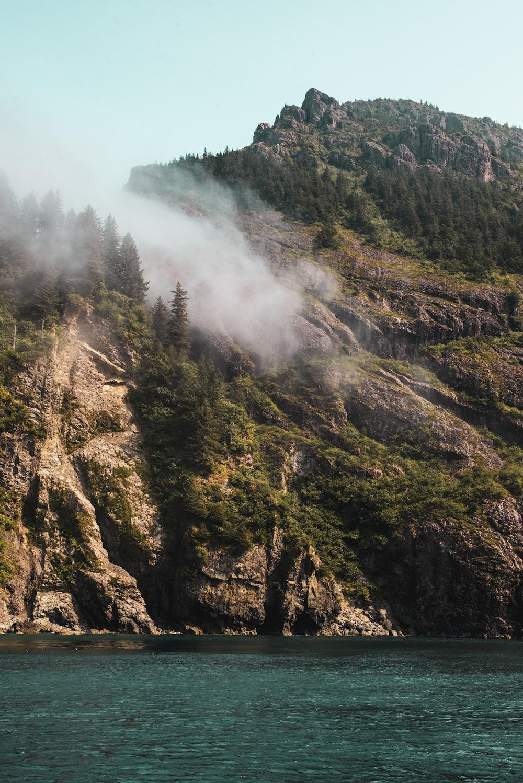landscape of a foggy mountain
