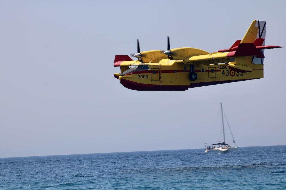 yellow plane during daytime