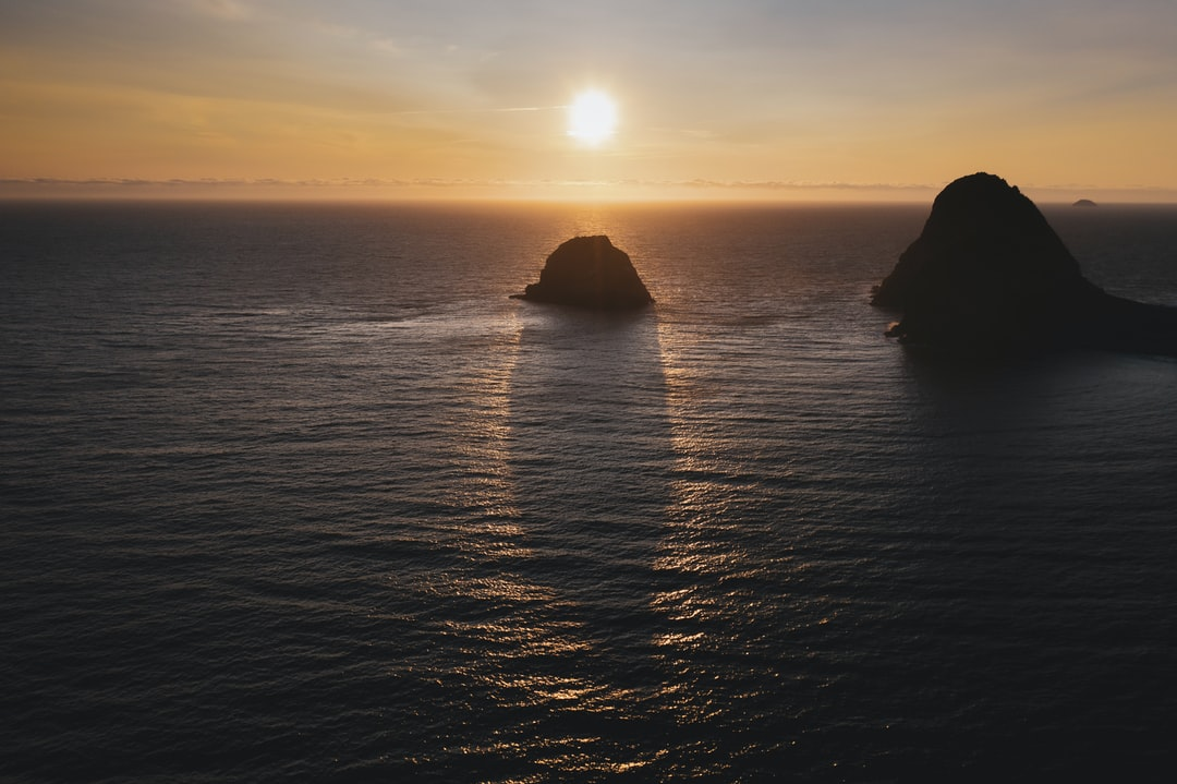 I used my heavier duty drone to fly over open ocean water and captured this beautiful image of a large sea rock at sunset. It was an unusually calm evening on the north Pacific and perfect conditions for open-water drone flights.
