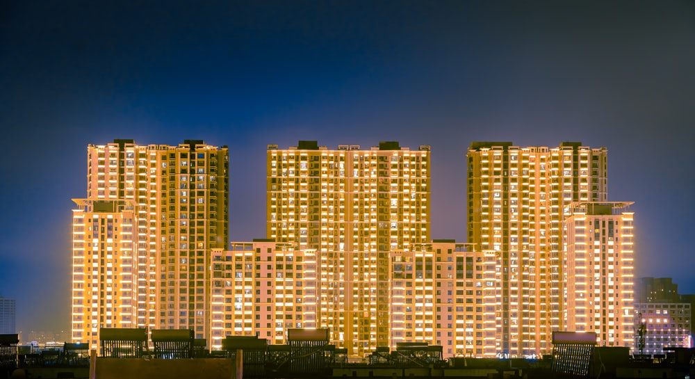 brown concrete buildings at night