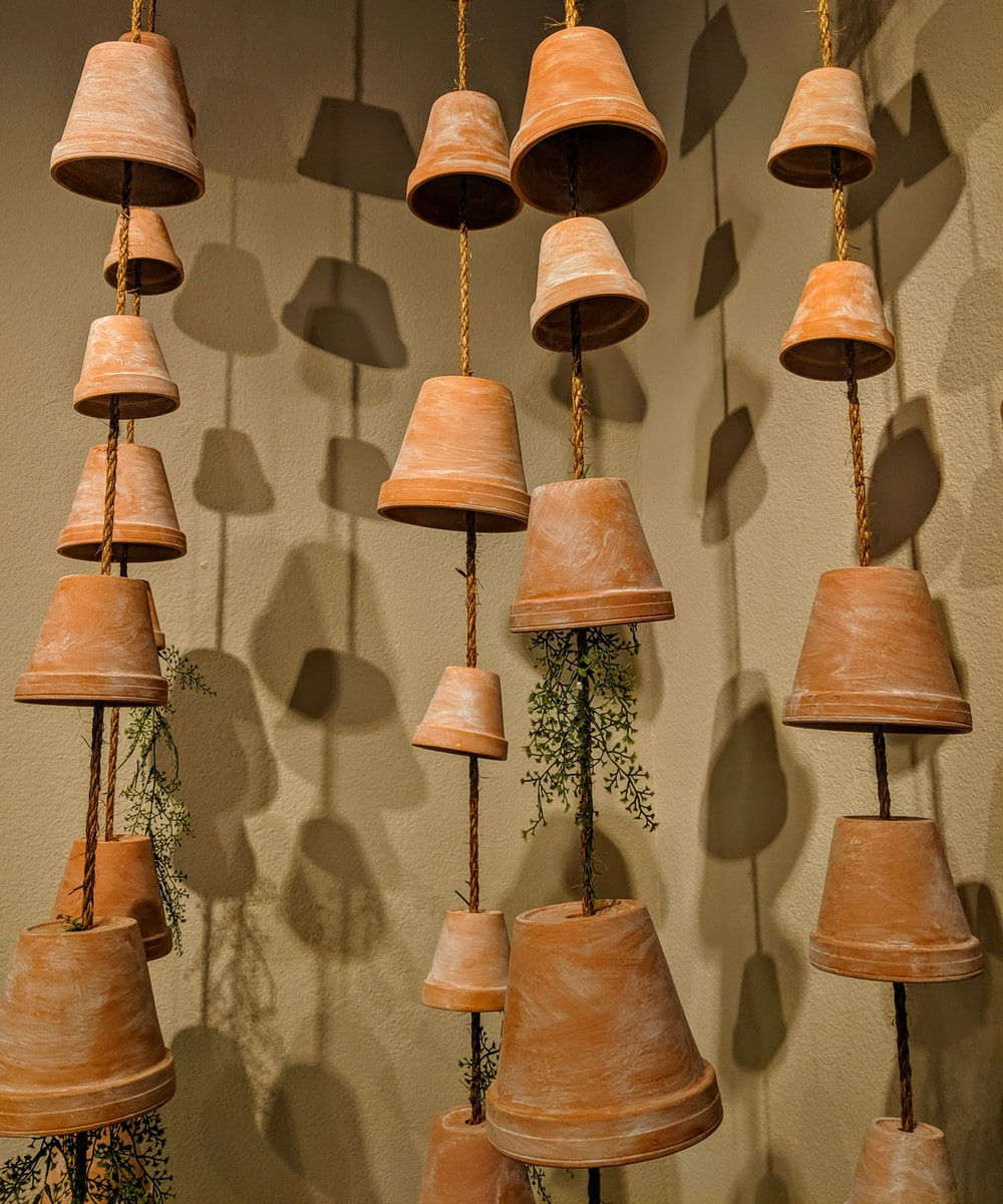 brown hanging clay pot decor