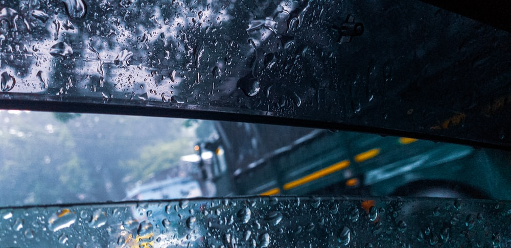water droplets in vehicle windshield