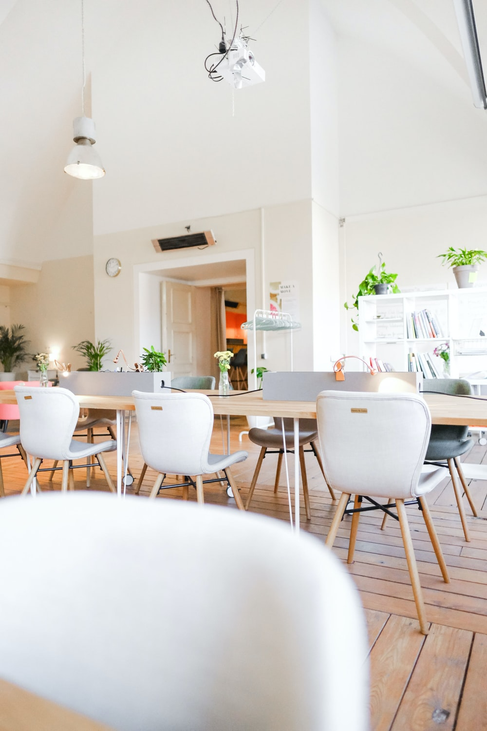white chairs and brown wooden table