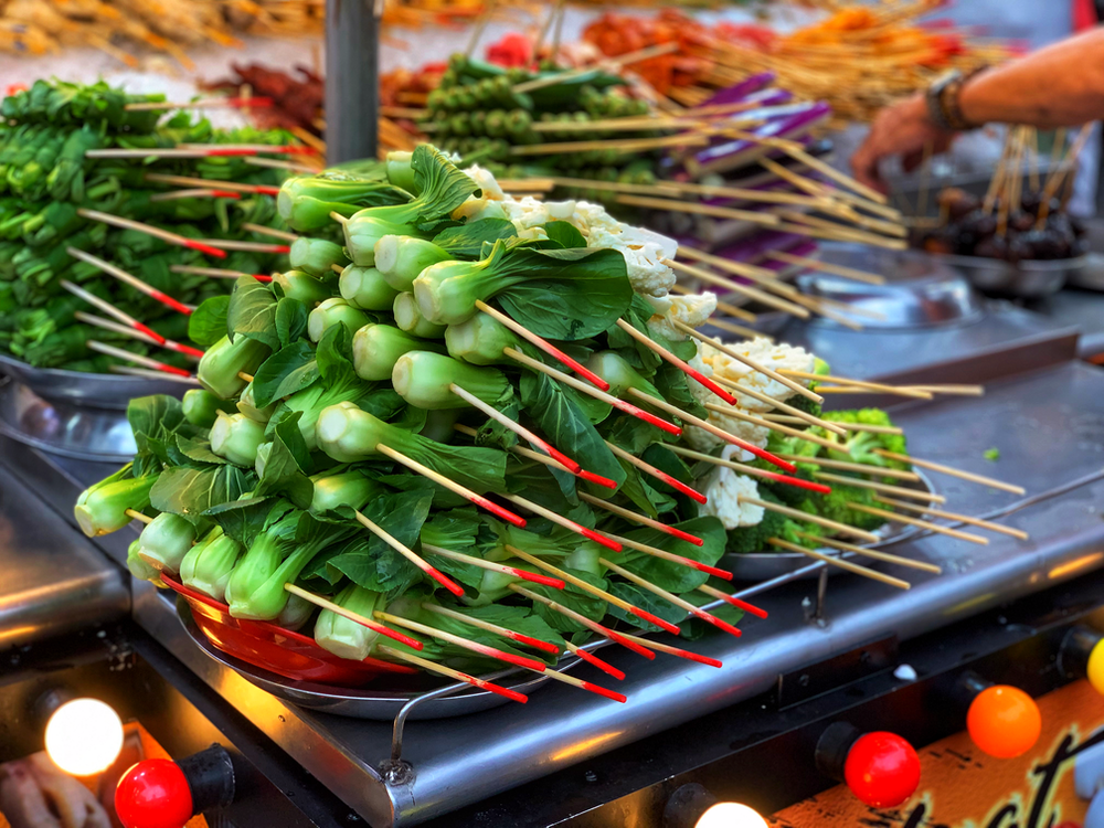 green vegetables on skewers