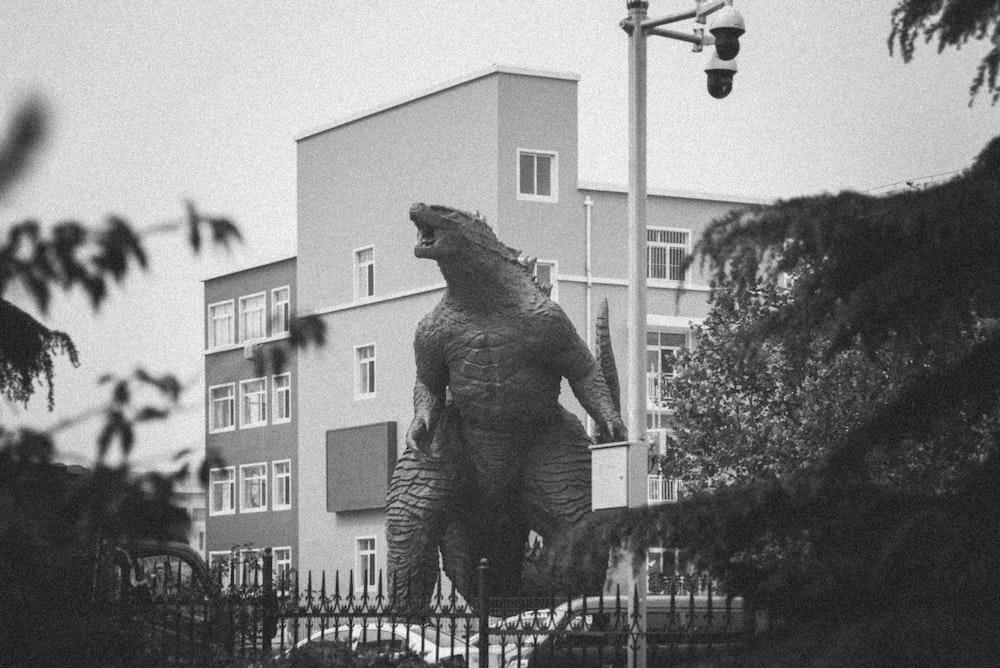 greyscale photography of dinosaur