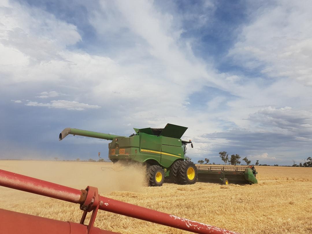 John Deere Harvester at work during Harvest in Rural South Australia