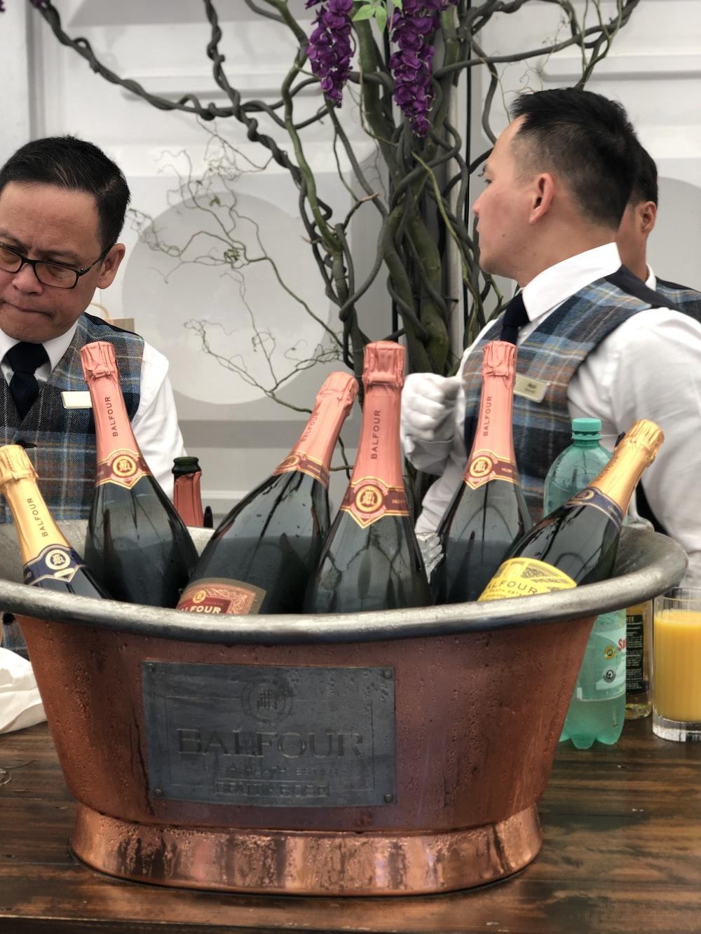wines bottles on bucket