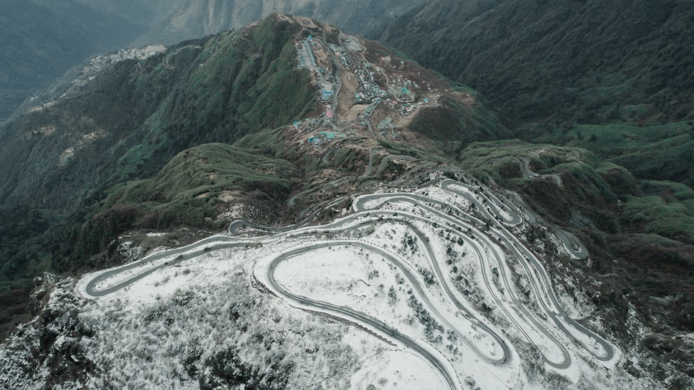 aerial photograph of mountain road