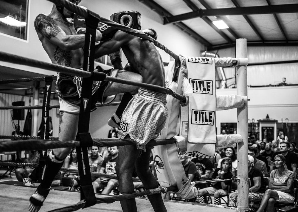 grayscale photography of boxing