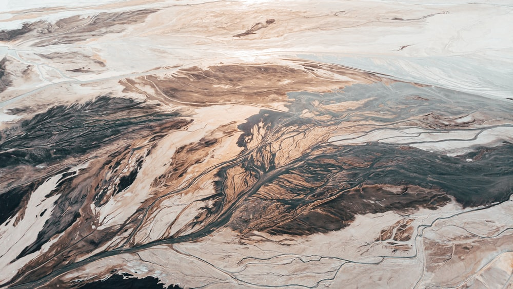 aerial photography of rock mountain