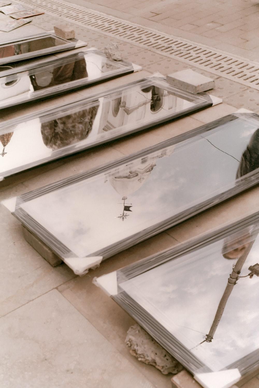 rectangular gray wooden framed mirrors