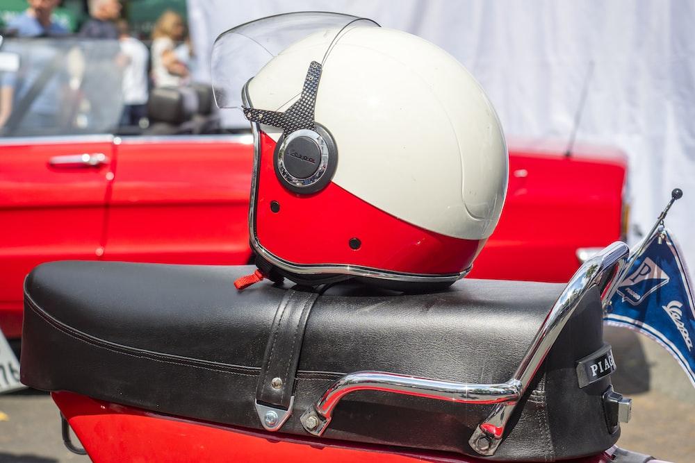 helmet on top of motorcycle seat
