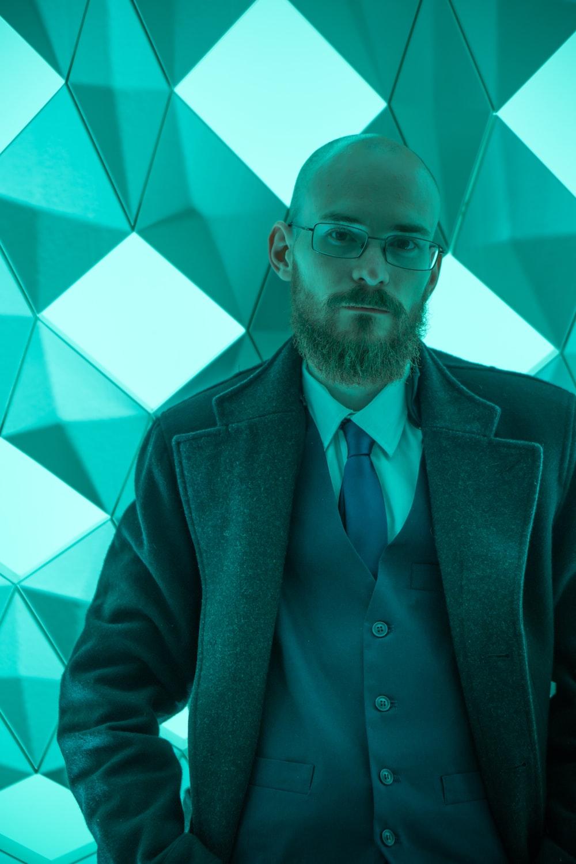 man wearing grey suit jacket