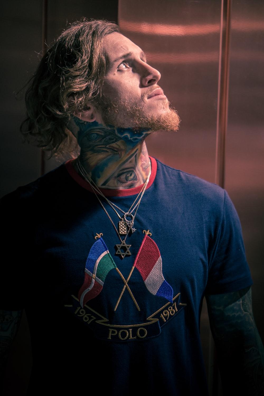 man in blue shirt