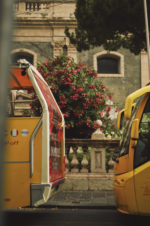 yellow transit vehicle