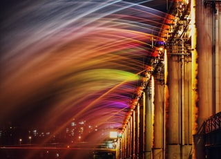 rainbow colored fountains