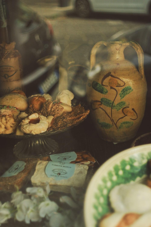 brown and green ceramic vase