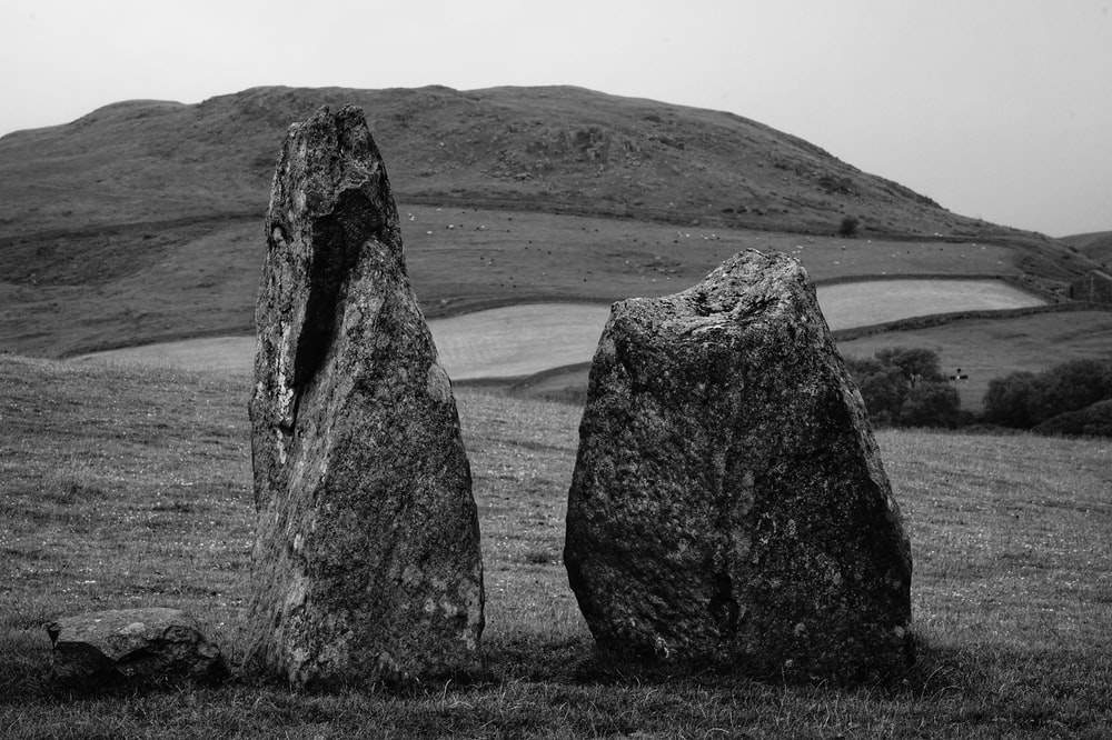 grayscale photography of two rocks in grass field