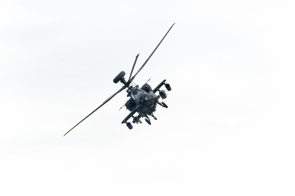 fighter helicopter in mid air