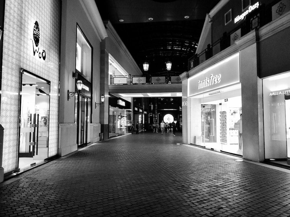 empty hallway grayscale photography