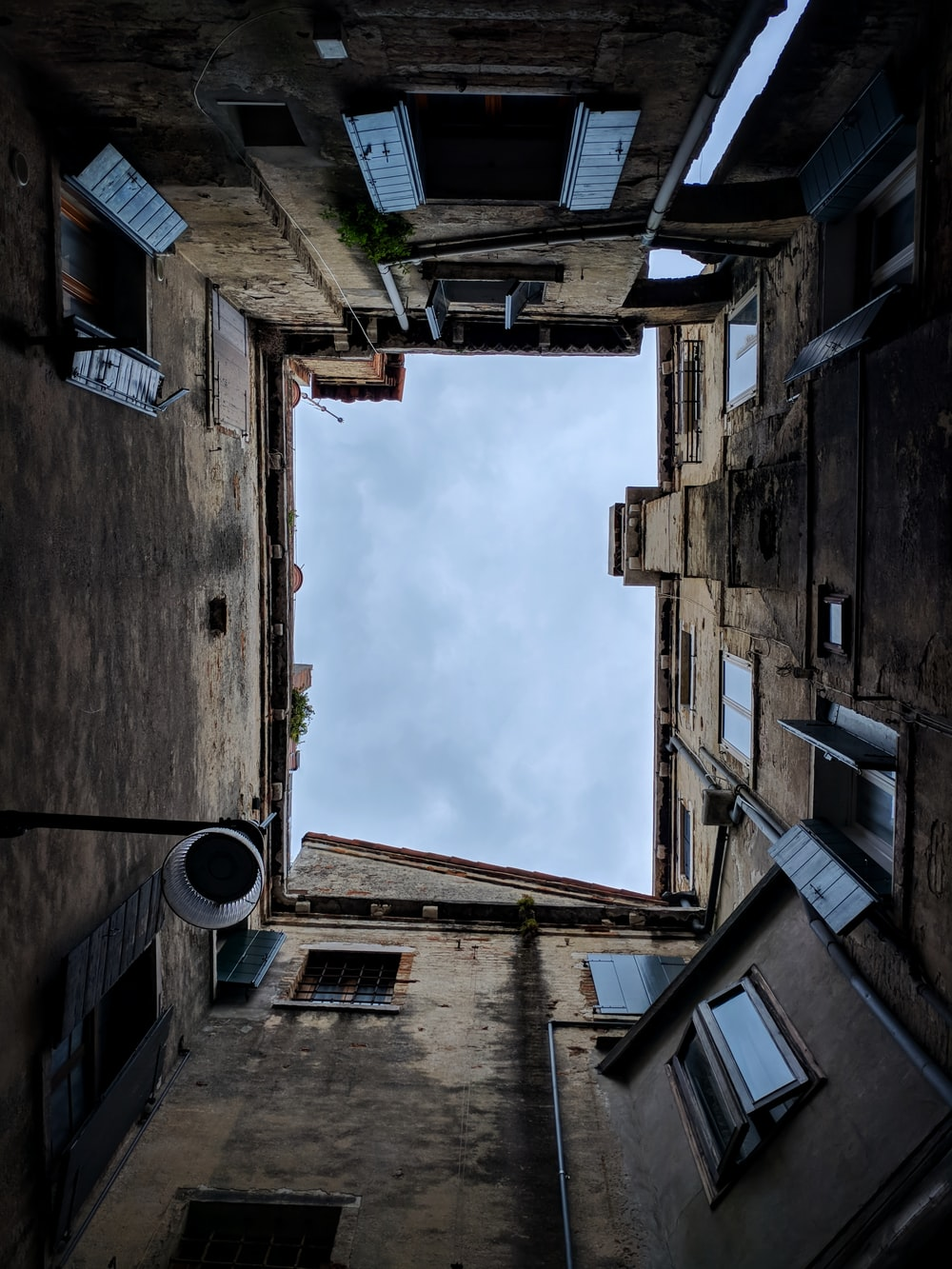 worm's eye view of a gray building
