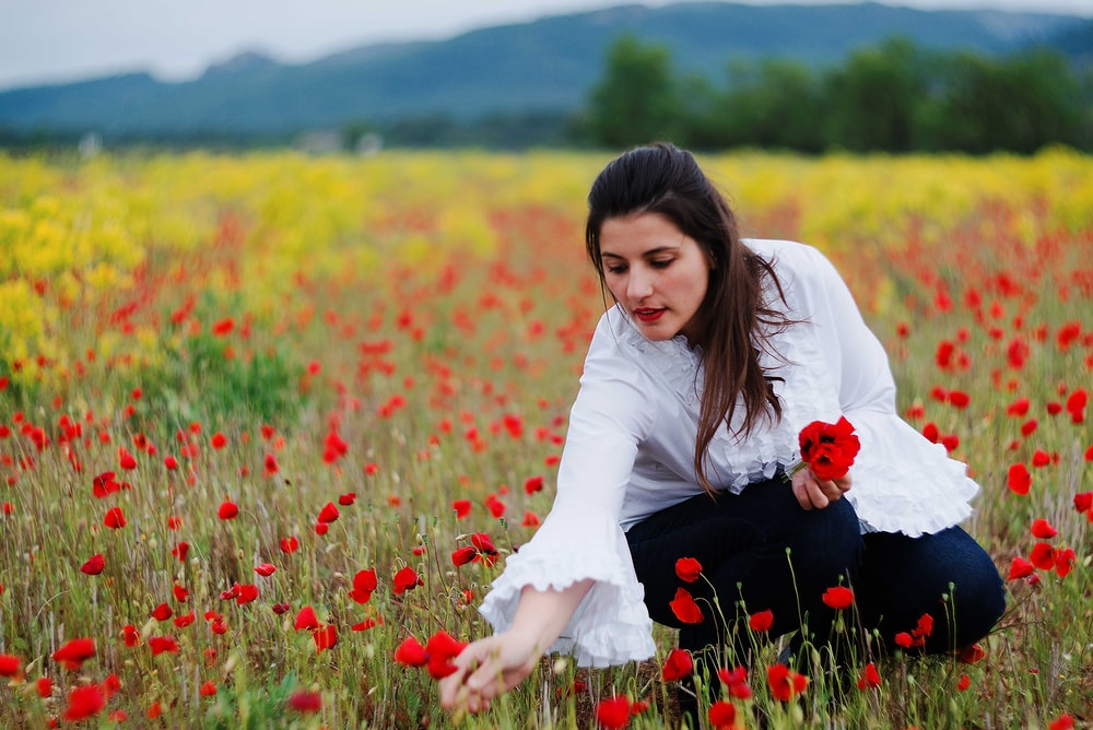 photography of woman holding red petaled flowers during daytime