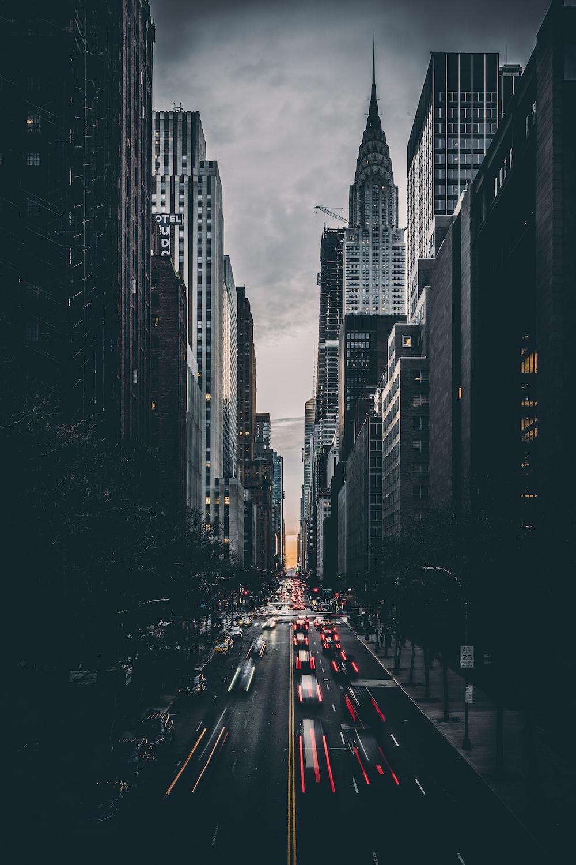 vehicles between buildings