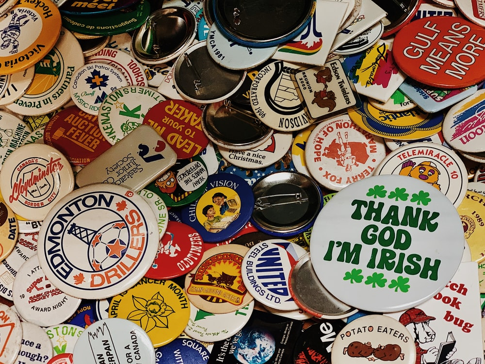assorted-color button pin lot