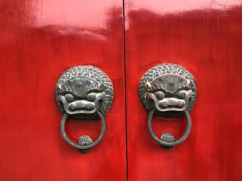gray metal door knobs