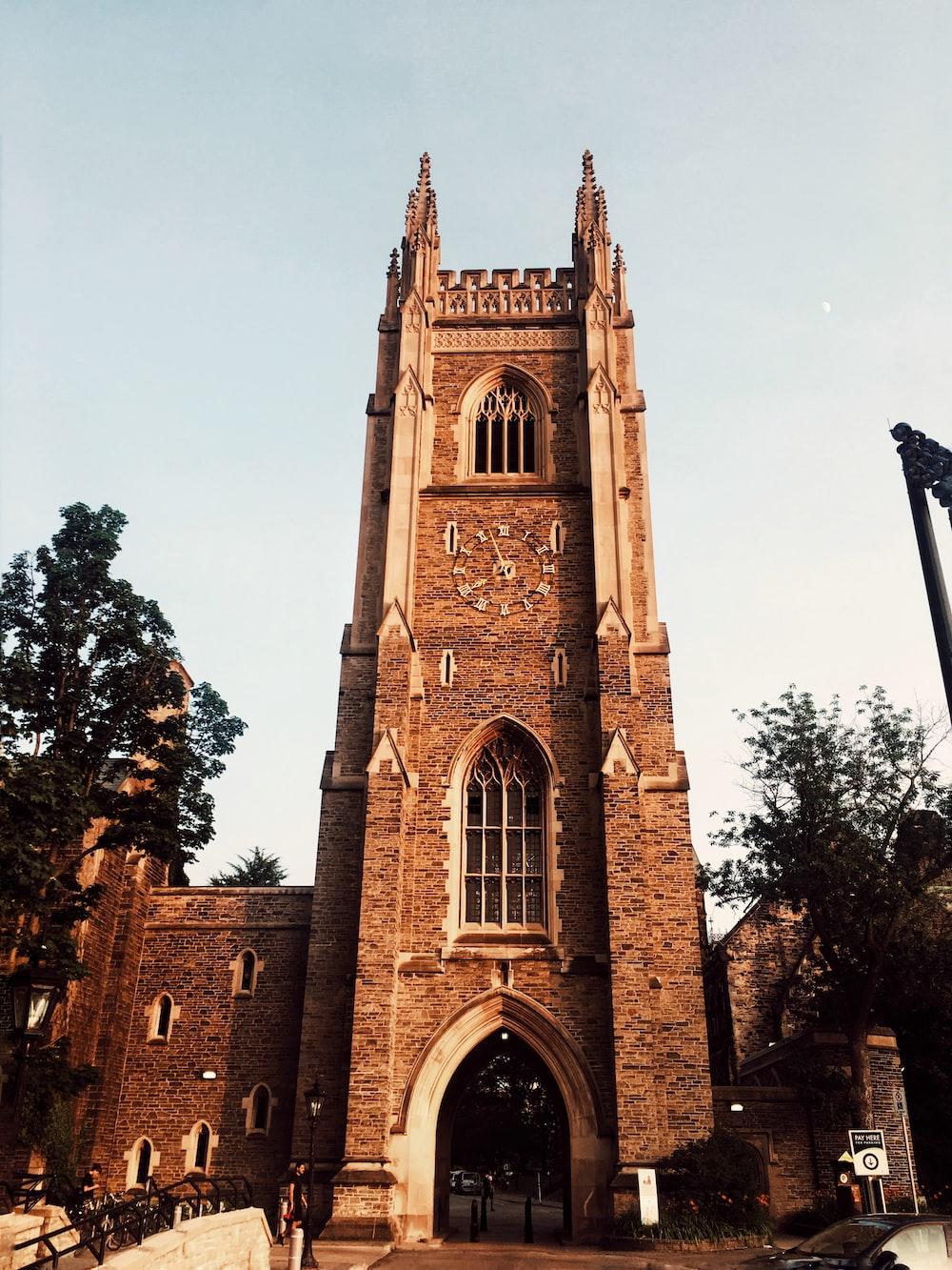 brown clock tower