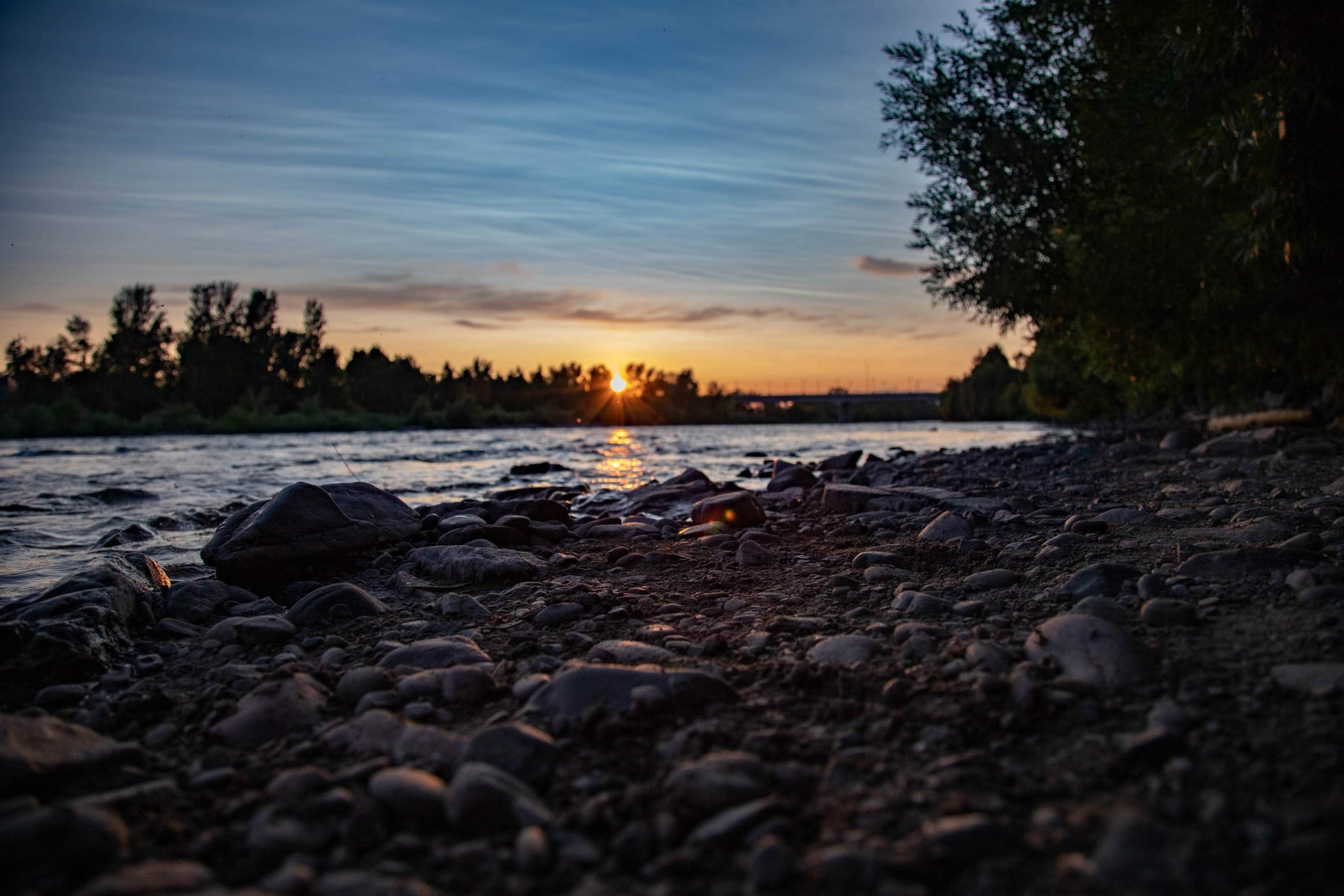 sunset over a river in Missoula, Montana