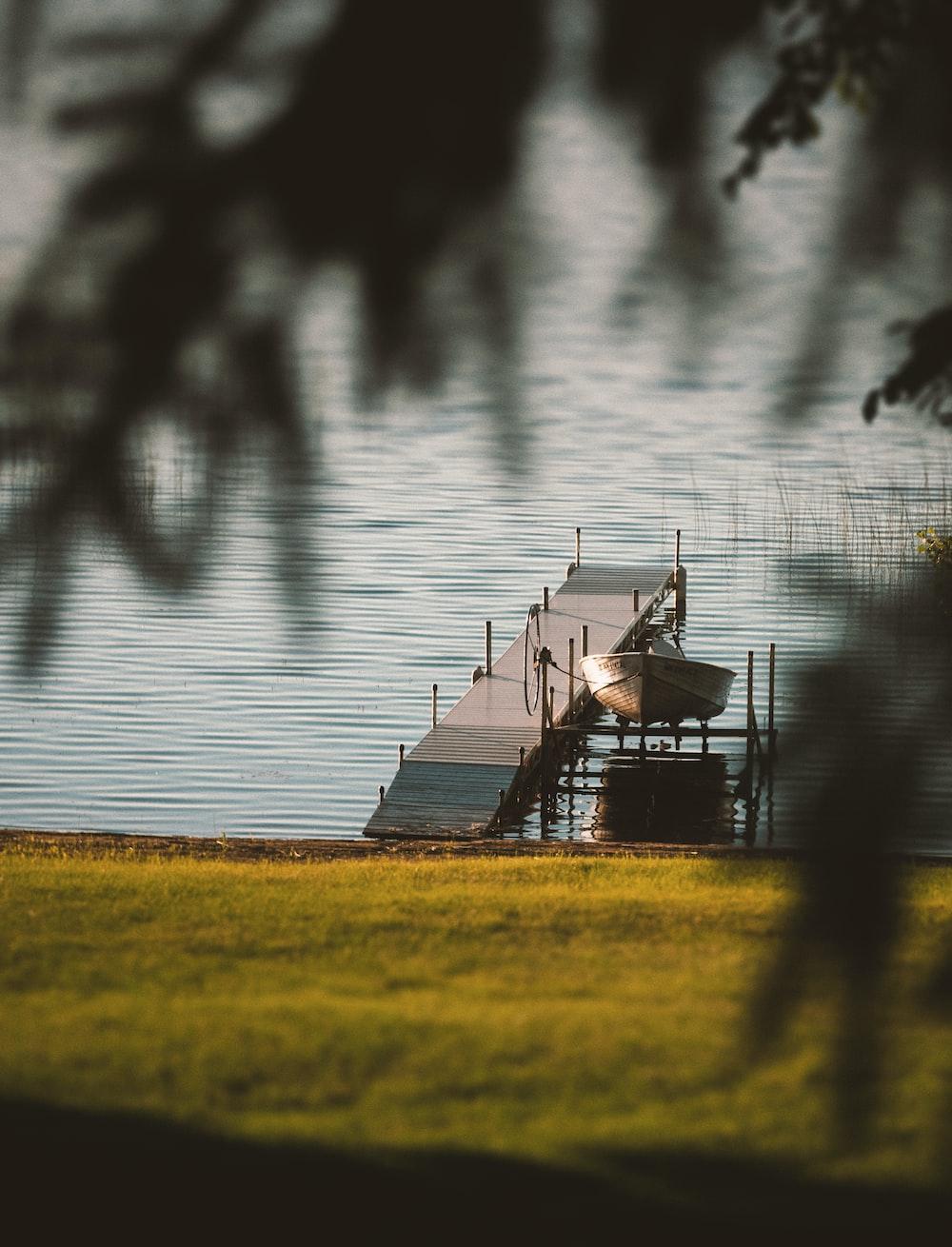 powerboat beside dock
