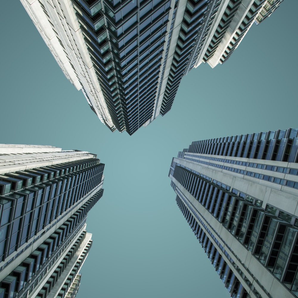low angle photography of high-rise buildngs