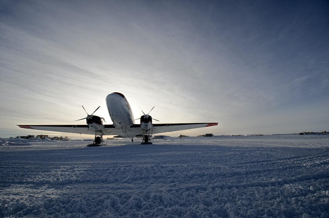 Small U. S. Antarctic Program aircraft on the tarmac at South Pole Station. Note skis