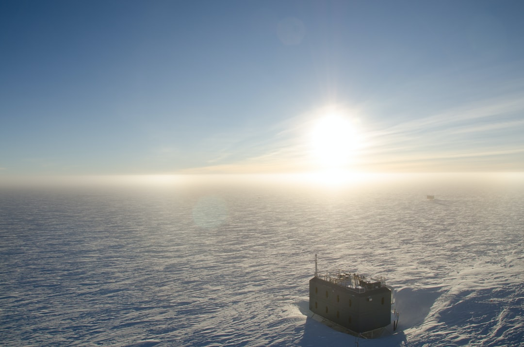 The sun has now risen a few degrees above the horizon at South Pole Station