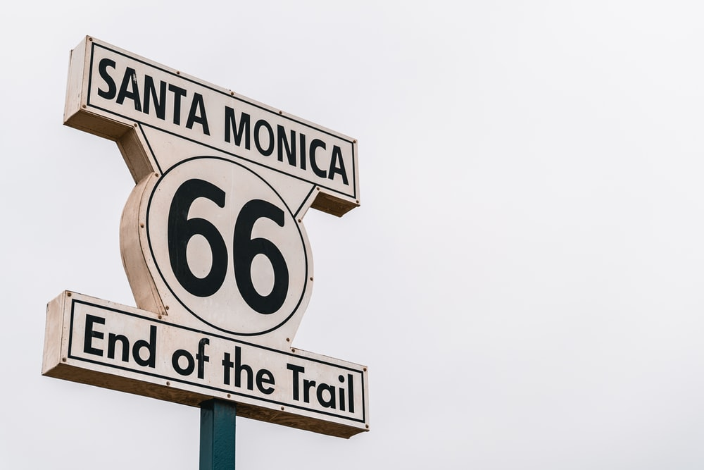 Santa Monica 66 End of the Trail road signage