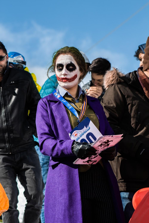 woman in a Joker costume