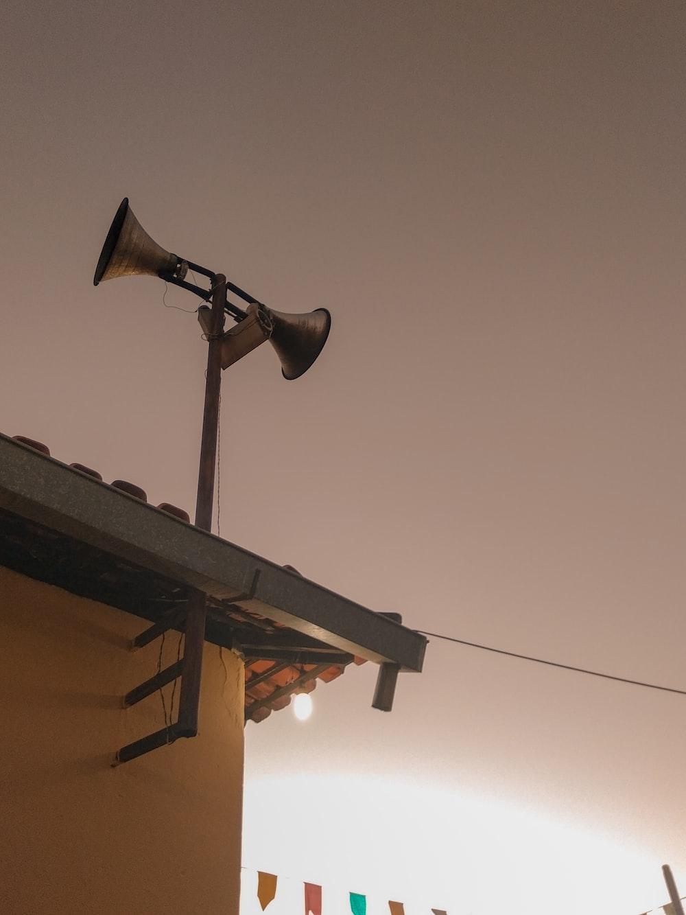 two brown megaphones
