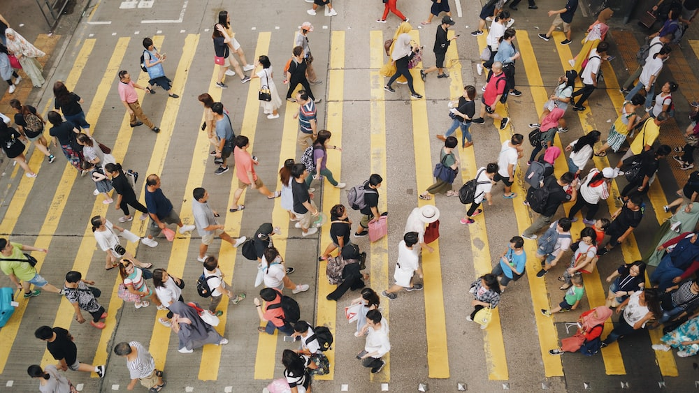 aerial photography of people walking on road during daytime