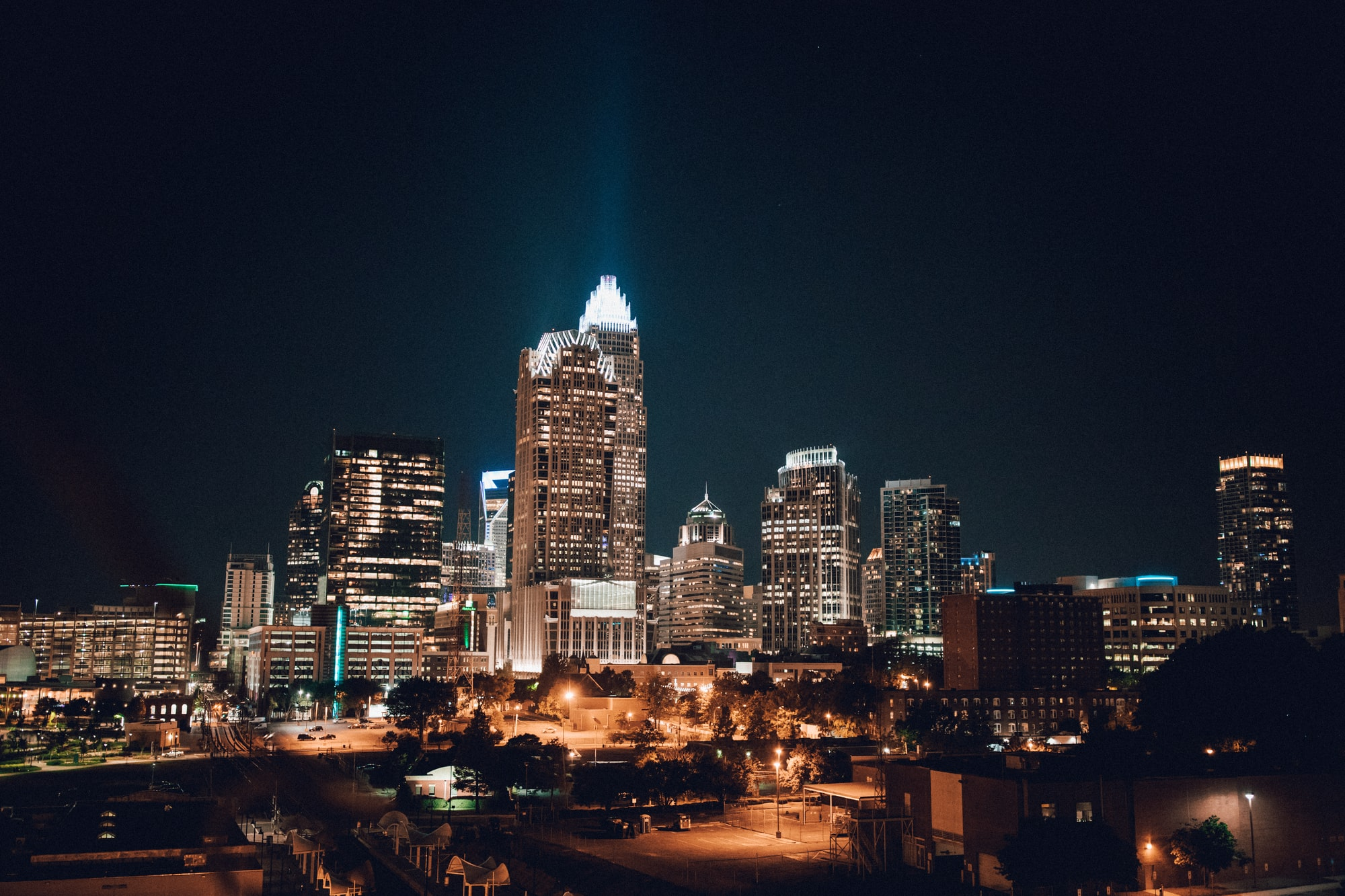 Uptown Charlotte, NC at night.