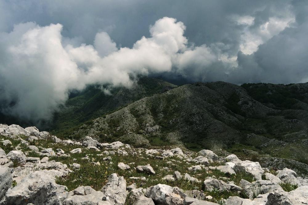 white rocks on mountain
