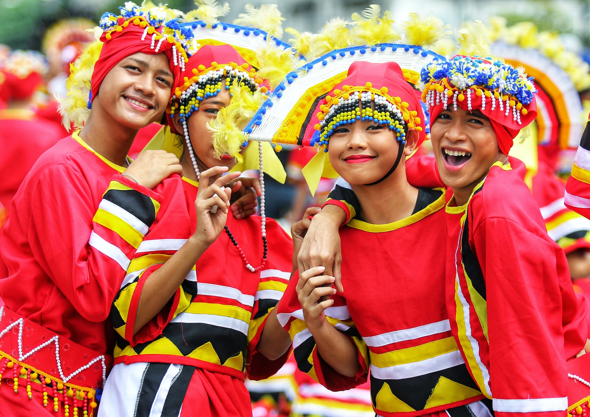 Cheerful Sinulog dancers