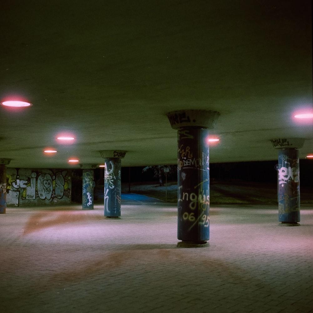 empty basement with graffiti walls