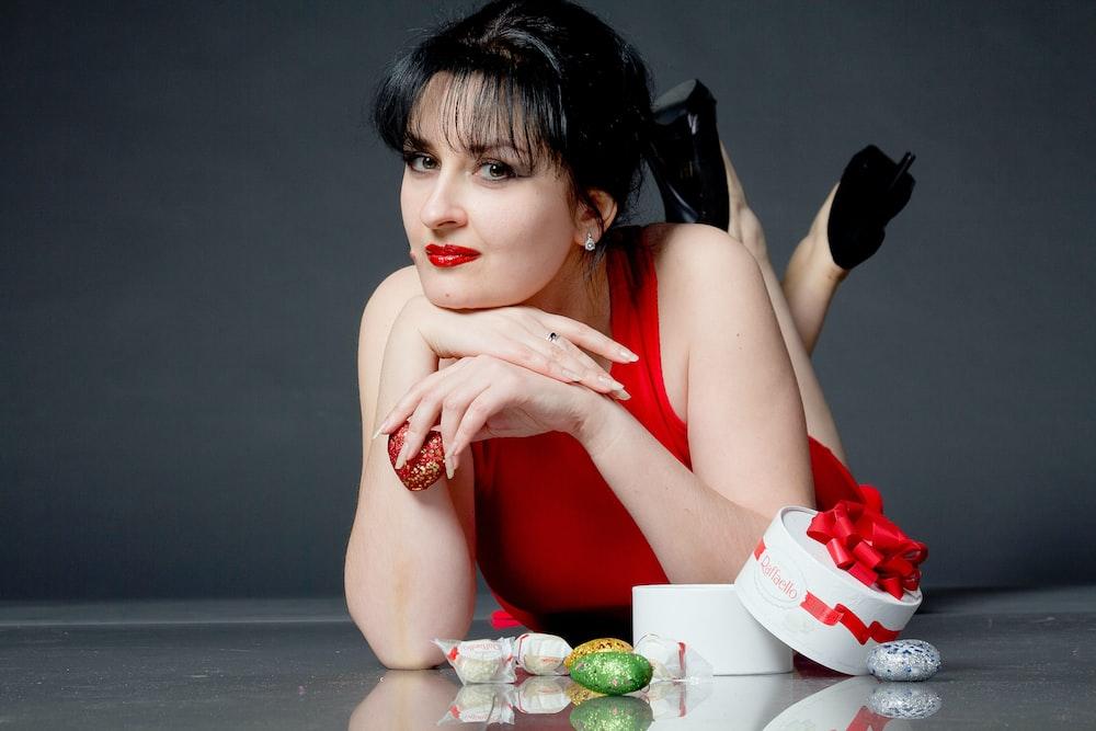woman in red tank dress