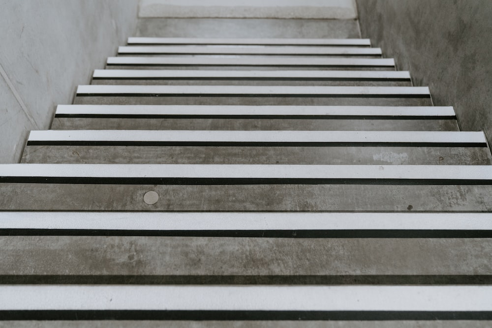 gray and white concrete stairs